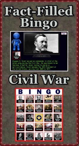 "Fact-Filled Bingo is a computer program sure to bring excitement to your Civil War unit. The talking robot calls out random Roman topics complete with pictures and interesting facts. 40 bingo cards are provided. Use the companion program Fact-Filled Slideshow and a SmartBoard/projector to highlight 48 different Civil War topics. Again the talking robot does the narrating. As a bonus I've included the manual ""Text-to-Speech"" which teaches you how to make PowerPoints talk. ($)"
