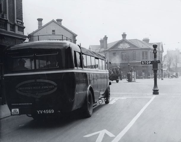 Preston Circus - Motor coach halted at the semaphore traffic signals, at the corner of London Road and Beaconsfield Road, in 1929.
