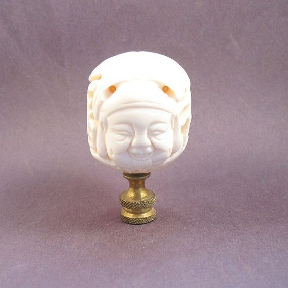 Hey, I found this really awesome Etsy listing at https://www.etsy.com/listing/270475144/asian-lamp-finial-ox-bone-face-ball