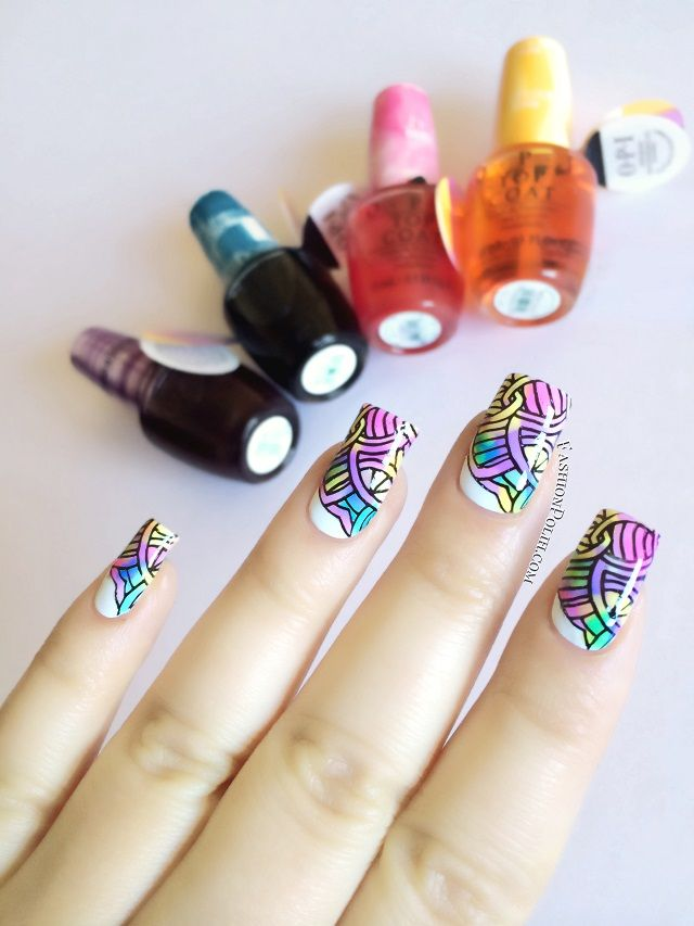 OPI Sheer Tints Nail Art : leadlight stamping!
