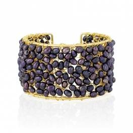 Pearl Cuff Bracelet- Black Peacock on Gold, Real statement design