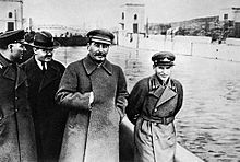 Joseph Stalin -Nikolai Yezhov, walking with Stalin in the top photo from the 1930s, was killed in 1940. Following his execution, Yezhov was edited out of the photo by Soviet censors.[44] Such retouching was a common occurrence during Stalin's rule.- Wikipedia, the free encyclopedia