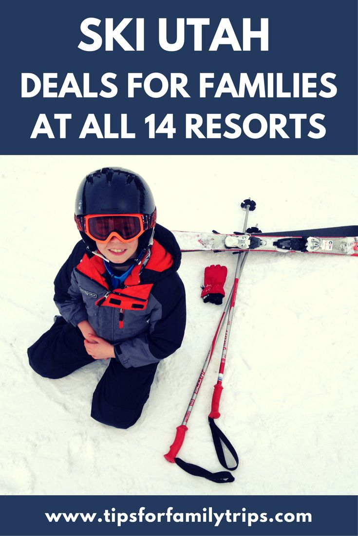 Ski Deals for families at all 14 of Utah's winter resorts | tipsforfamilytrips.com | snowboard deals | lift ticket deals | kids ski free | Ski Utah | winter activities | family travel | winter vacation