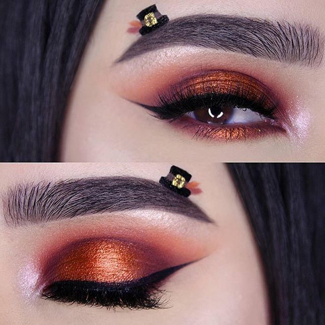 Who's excited for Thanksgiving ? _ Products Used Brows: @anastasiabeverlyhills Dipbrow in Ebony. _ Crease: @makeupgeekcosmetics eyeshadow in Morocco. _ Lid: @anastasiabeverlyhills eyeshadow in Blazing & Beauty Mark. Makeup Geek Cosmetics eyeshadow in Flame Thrower. _ Eyeliner: @tartecosmetics Tarteist Black Clay paint. _ Lashes: @velourlashesofficial lashes in Flash It. _ Brushes Used: @sigmabeauty brushes.