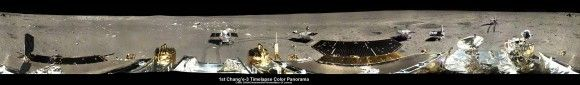 360-degree time-lapse color panorama from China's Chang'e-3 lander. This new 360-degree time-lapse color panorama from China's Chang'e-3 lander shows the Yutu rover at five different positions, including passing by crater and heading south and away from the Chang'e-3 lunar landing site forever during its trek over the Moon's surface at its landing site from Dec. 15-22, 2013 during the 1st Lunar Day. Credit: CNSA/Chinanews/Ken Kremer/Marco Di Lorenzo – kenkremer.com.