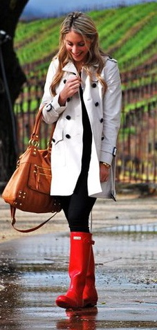 Trench coat and red rain boots!