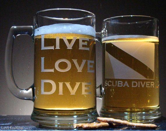 LIVE LOVE DIVE Scuba Diver Etched Glass Beer Mug