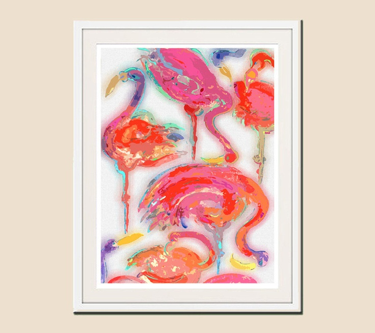 bathroom art print bathroom decor abstract by ozscapedesigns - Pink Flamingo Bath Decor