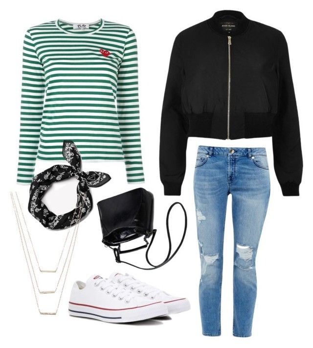 """Blå mandag"" by grekke on Polyvore featuring Play Comme des Garçons, Ted Baker, River Island, rag & bone, Converse and ERTH"