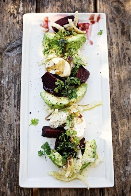Beet & Avocado Salad with Fresh Mozzarella and Fennel