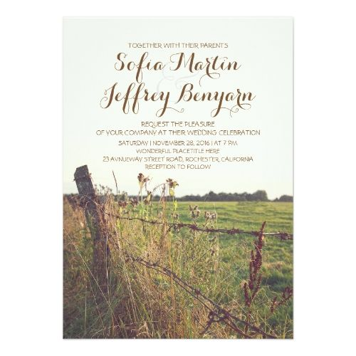 Lovely Country Wedding Invitations Rural Fence Country Rustic Wedding Invitation