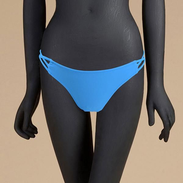 Light Blue Cut Out Side Swim Suit Bikini Bottom Sexy Swim Shorts Crossover Low Waist Women Sexy Swim Briefs Beach Shorts