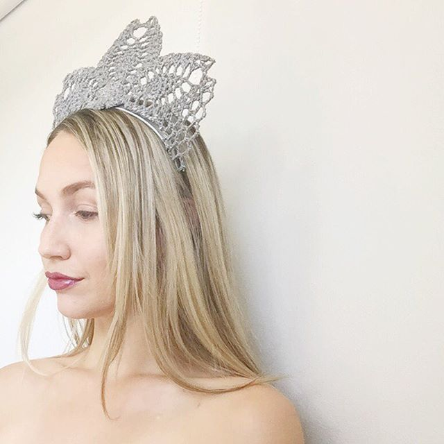 Silver lace crown / headpiece by Alea Headpieces. Perfect millinery / fascinator for the races or special events: a baby shower, bridal shower, engagement party or hens night. See what's in stock with worldwide shipping x