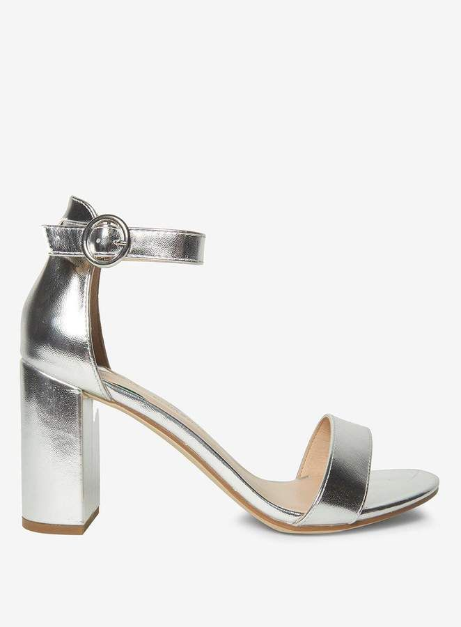 5ea0880d10df9 Dorothy Perkins Wide Fit Silver Shimmy Sandals #ad #under50 #shoes Ankle  Strap Block