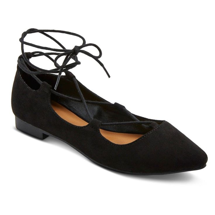 Women's Kady Wide Width Ghillie Pointed Toe Lace Up Ballet Flats - Black 5.5W
