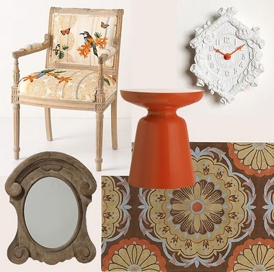 Earth Tones with Orange accents  1. Tropical Flock Chair - Anthro  2. Martini Side Table via West Elm  3. Mini Cuckoo Clock - Urban Outfitters  4. Area Rug - Home Decorators  5. Weathered Curlicue Mirror - Anthro