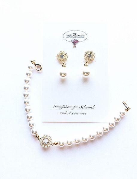Brautschmuck - 2teiliges Schmuckset Ohrringe und Armband Braut - ein Designerstück von meiTherese bei DaWanda