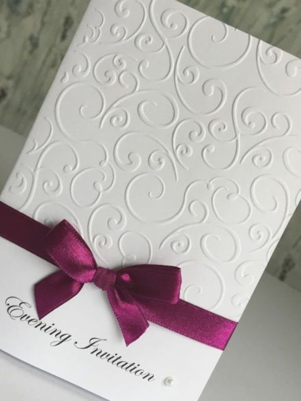 Wedding Invitations Handmade Embossed Diamante Or Pearls H D In 2020 Embossed Wedding Invitations Handmade Wedding Invitations Making Wedding Invitations
