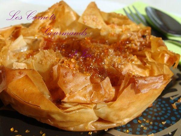 Croustade Landaise ou tourtière aux pommes - Parfumée à l'Armagnac, en chiffonnade de pâte filo caramélisée