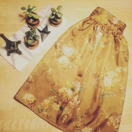 Maria's silk Clemence skirt - sewing pattern in Love at First Stitch