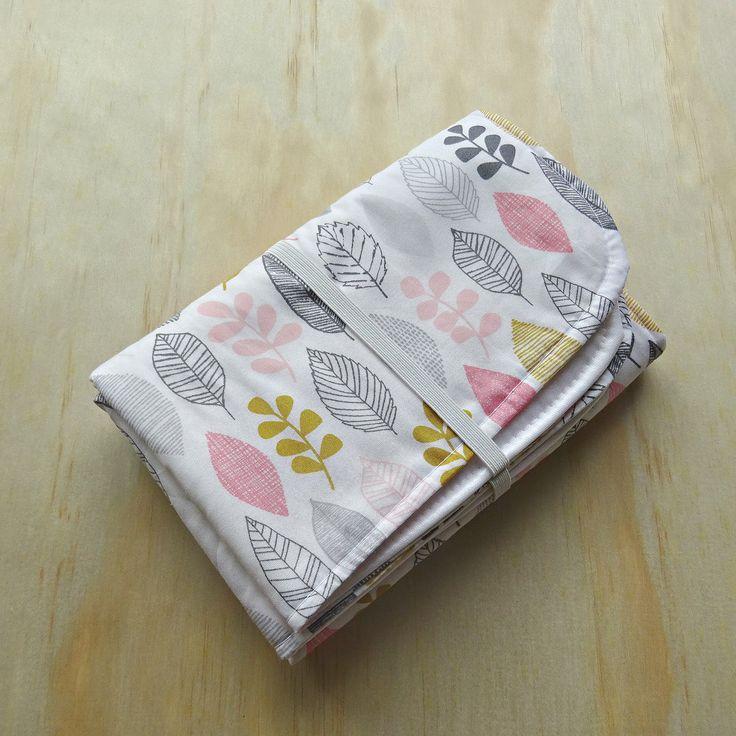 Organic leaf pattern wipeable baby change mat cover. change mat cover. nappy wallet change mat by BitsandBobs4Bubs on Etsy