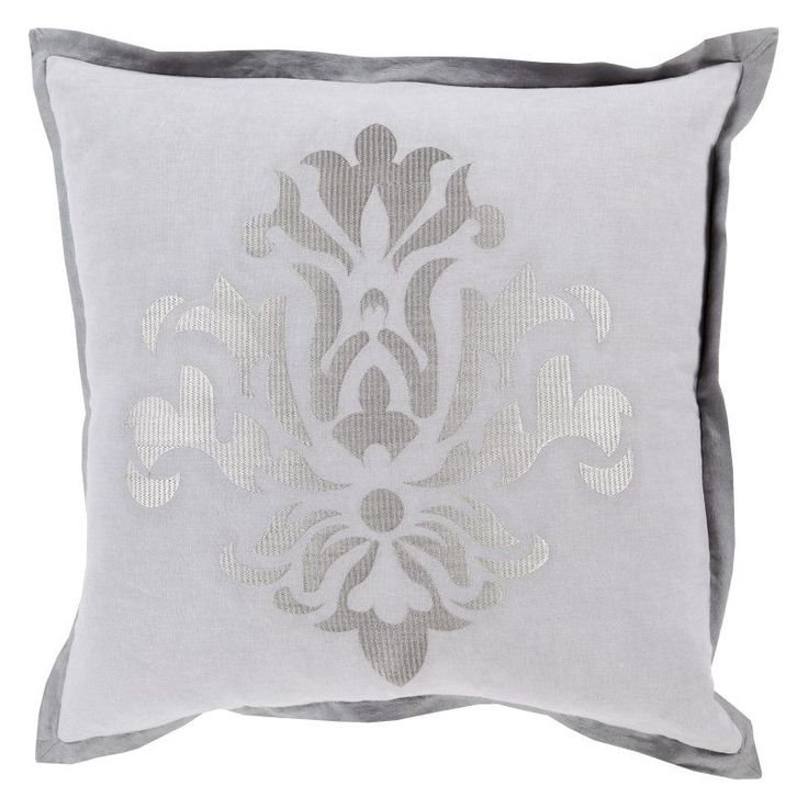 Surya Sparkling Damask Decorative Throw Pillow Gray/Silver Polyester - CT001-2020P