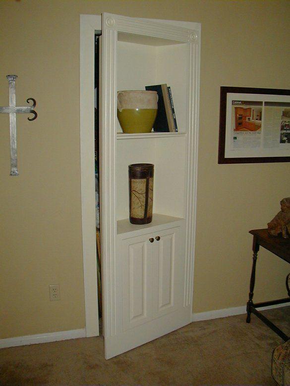 Hidden Bookcase Door w/cabinet...what a great idea....