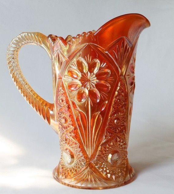 Imperial Marigold Carnival Glass Pitcher, Daisy and Cosmo Pattern