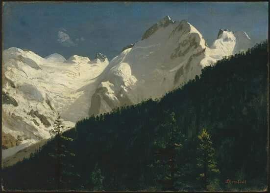 "Albert Bierstadt ""Piz Bernina, Switzerland"" Oil on paper mounted on Masonite http://mfas3.s3.amazonaws.com/objects/SC173749.jpg"