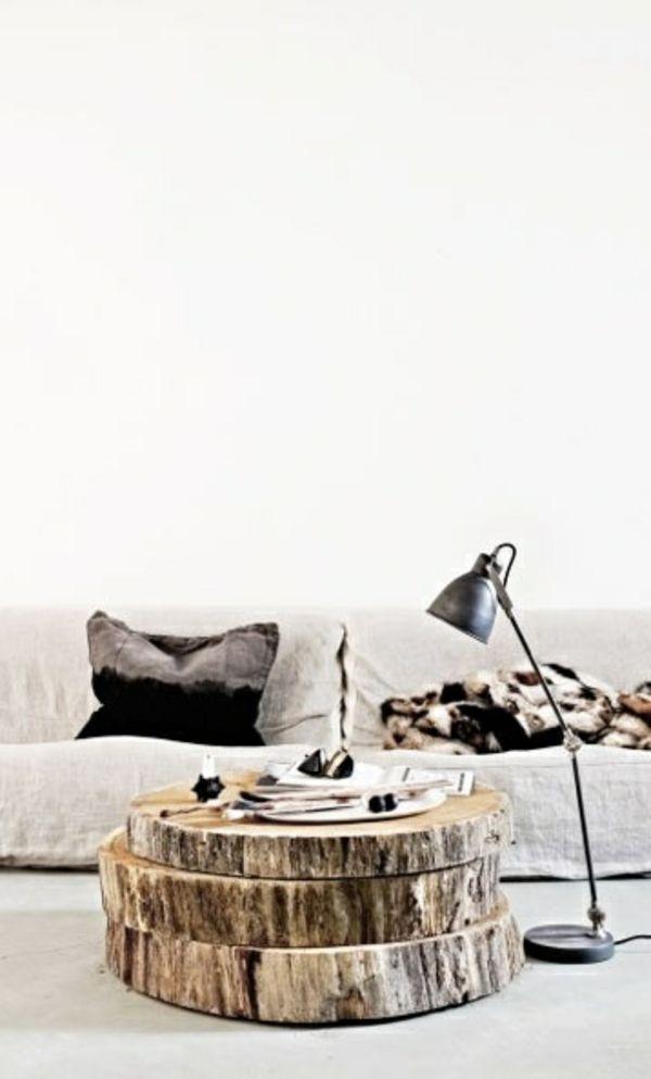 Couchtische massivholz Baumstamm lampe