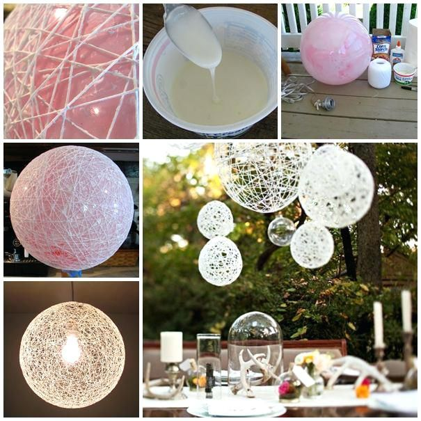 Diy String Light Chandelier Wonderful Diy Decorative String Chandelier With Yarn And Balloon Outdoor Dining Chandeliers And Yarns