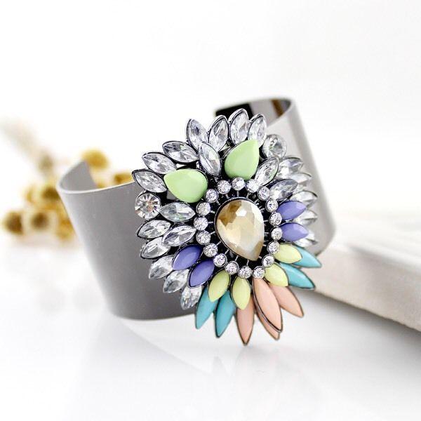 Colourful Rhinestone Cuff, Women's Fashion Accessories