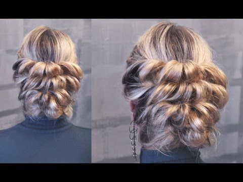 Hairstyle for medium hair - Вечерняя причёска на резинках - Hairstyles by REM - YouTube