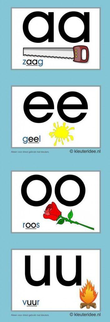 Letterkaarten voor kleuters tweeklanken 1,  kleuteridee.nl , abc cards for preschool , free printable