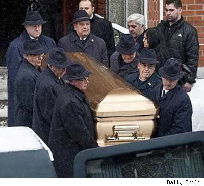 Mafia funeral, complete with gold casket. January, 2010. Nick Rizzuto, the son of Montreal Mafia boss Vito Rizzuto, gunned down at 42. Vito couldn't make his son's funeral, on account of his being in the middle of serving a sentence for racketeering related to three Mafia murders.