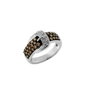 Belt Ring With Brown and White Diamonds in 14k White Gold