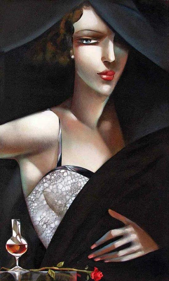 Tamara de Lempicka (Polish, 1898-1980): title unknown [portrait of blue-eyed brunette]. Oil on canvas. Art-Deco style.