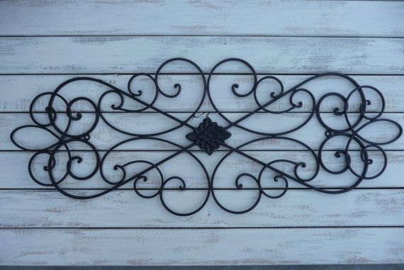 Wrought Iron Wall Decor ~ Bedroom Bed Headboard ~ Black Wall Hanging ~ Patio ~ Shabby Chic Decor