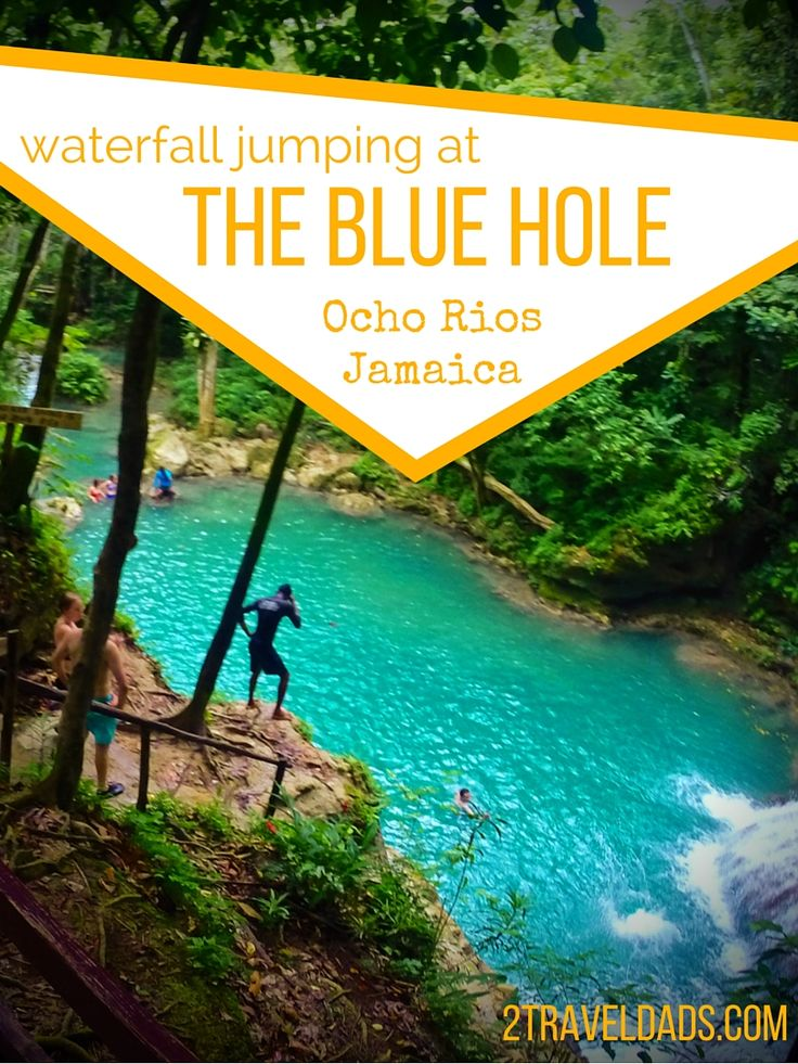 Jumping off waterfalls at the Blue Hole in Ocho Rios, Jamaica is an awesome jungle experience. Perfect water, some thrills and beautiful flowers. 2traveldads.com