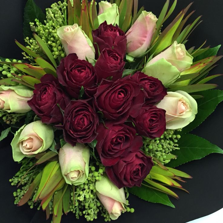 Roses with indigenous greens-Rosemary Florist. Sea Point