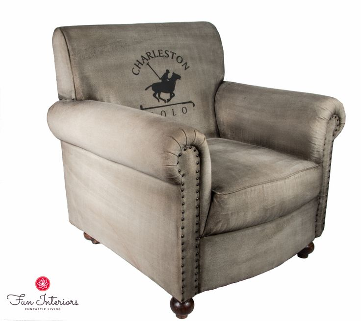 cotton vintage armchair with POLO print