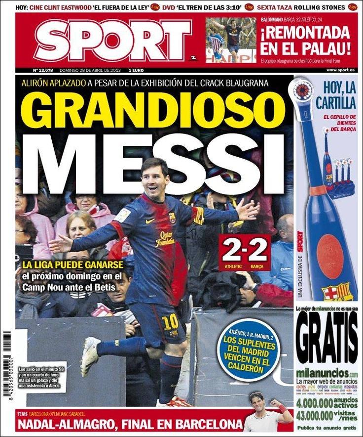 Los Titulares y Portadas de Noticias Destacadas Españolas del 28 de Abril de 2013 del Diario Deportivo SPORT ¿Que le parecio esta Portada de este Diario Español?