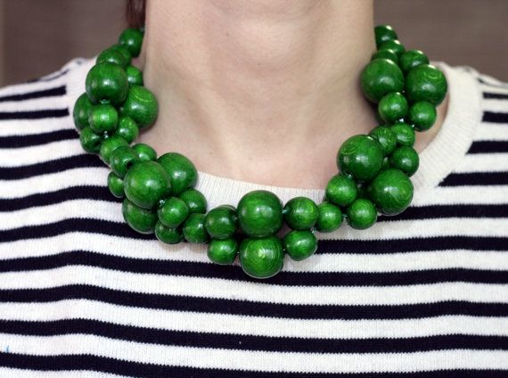 Emerald Green Bead Necklace color block от YourStyleAdvisor