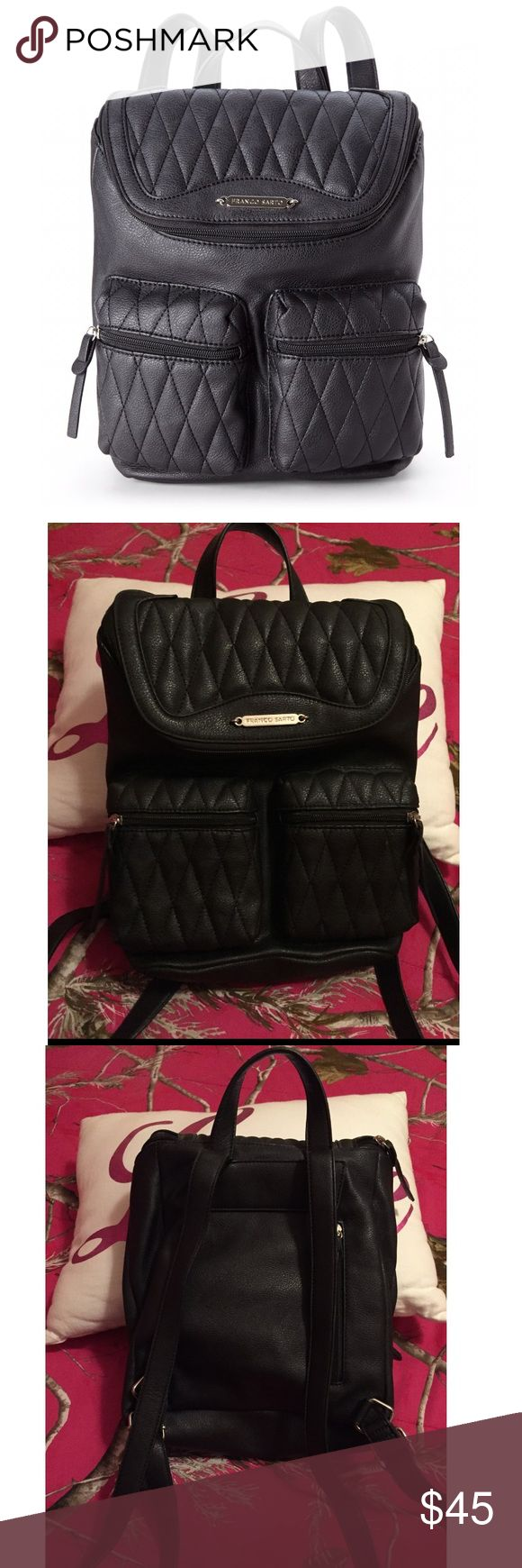 Black quilted faux leather backpack Gently used . Perfect for that mom on the go , or a music festival / rave. Quilted faux leather Franco Sarto Bags Backpacks