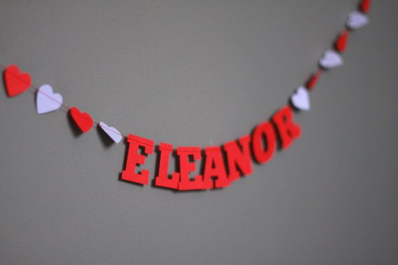 Paper Garland Your Name with Hearts by jonesmade on Etsy