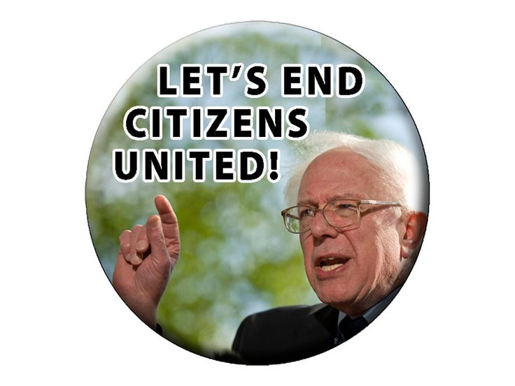 "END CITIZENS UNITED Pin or Magnet -  Bernie Sanders Presidential Candidate 2016 Choose a Lg 2.25"" Pin Badge Button or Fridge Photo Magnet (2.99 USD) by psychedelictara"