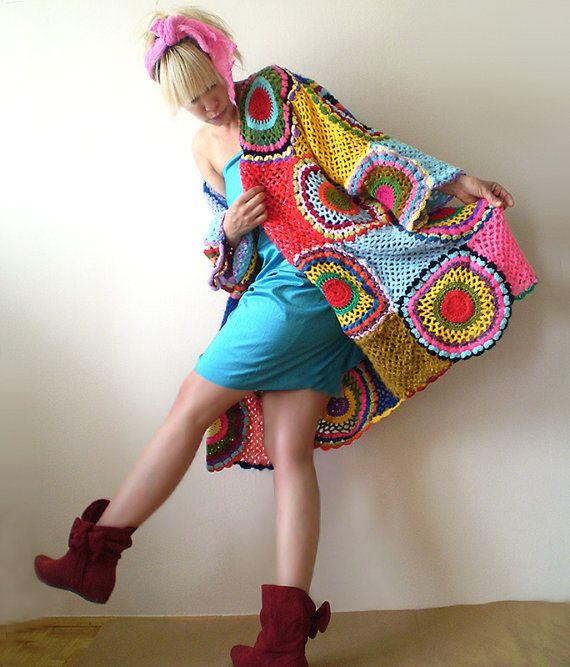 Más tamaño Cardigan Multicolor de ganchillo por subrosa123 en Etsy