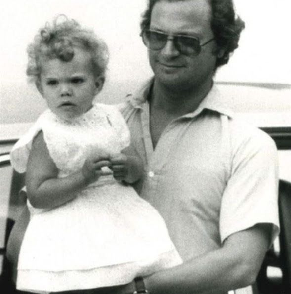 Crown Princess Victoria of Sweden with her father King Carl XVI Gustaf of Sweden, 1970s