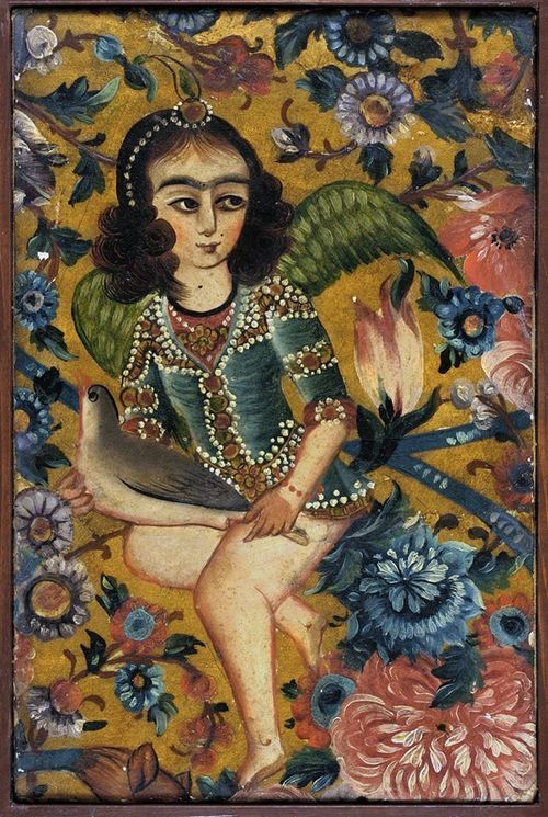 Ancient Goddess Bird Tribe Woman of Iran, Qajar Dynasty was still represented in the 19th century