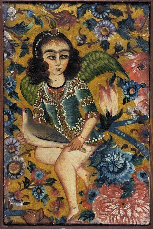 Angel with Bird Iran, Qajar Dynasty, 19th century Paintings Oil on canvas